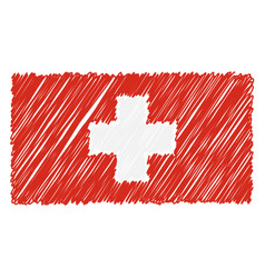 hand drawn national flag of switzerland isolated vector image