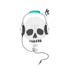 Human skull in headphones hipster rock music icon vector