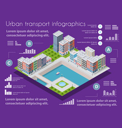 isometric city map industry infographic set with vector image