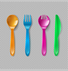 Kids plastic cutlery little spoon fork and knife vector