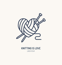 Knitting shop line logo yarn store flat sign vector