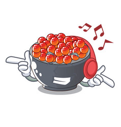 Listening music salmon roe character ready to eat vector