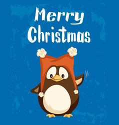 merry christmas greeting penguin in funny hat vector image
