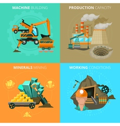 Minerals mining 4 flat icons square vector