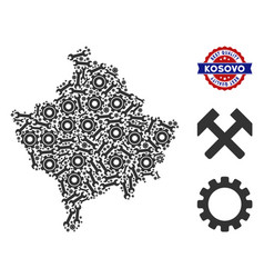 Mosaic kosovo map of industrial tools vector