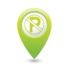 No parking icon on green pointer vector