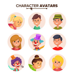 People characters avatars set color vector