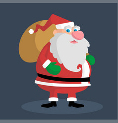 Picture of a thick santa with a gift bag vector