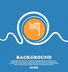 Racing flag icon sign Blue and white abstract vector