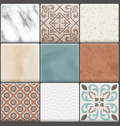 Realistic ceramic floor tiles icon set vector