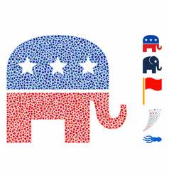 republican elephant mosaic icon rough pieces vector image
