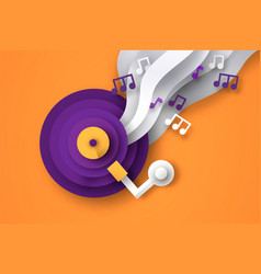 retro vinyl music cd paper cut with musical note vector image