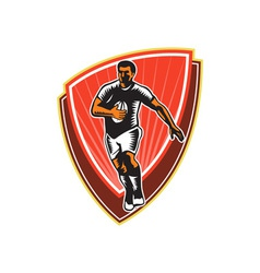 Rugby player running ball front woodcut vector