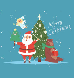 santa claus and merry christmas tree bear and vector image