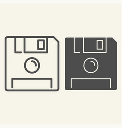 Save line and glyph icon diskette vector