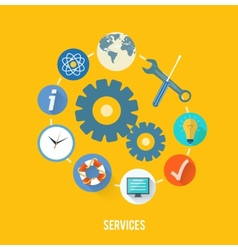 Service concept with item icons vector image
