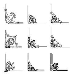Set of 9 decorative corners vector