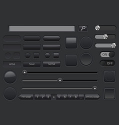 set of black buttons collection of user interface vector image