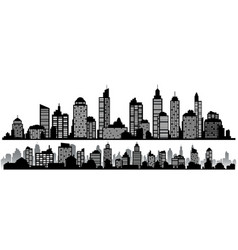 set of black horizontal night cityscapes vector image