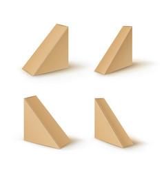 set of brown blank cardboard triangle take vector image