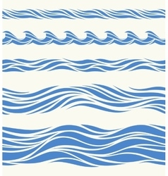 Set of seamless patterns with stylized waves vector