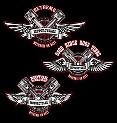set of vintage custom motorcycle emblems design vector image