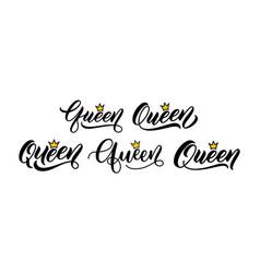 Set queen words with crowns vector