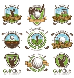 set vintage golf emblems vector image