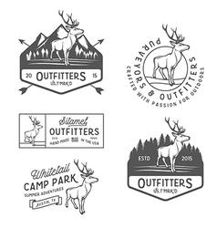 set vintage outdoors labels and design elements vector image