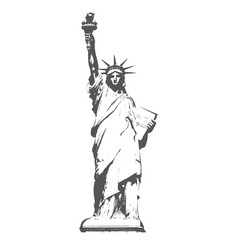 Silhouette of statue of liberty in new york vector