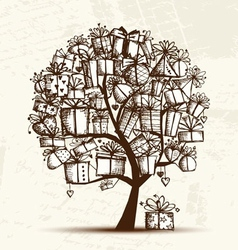 Sketch tree with gift boxes for your design vector image