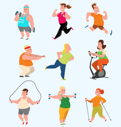 Sport fatty people fitness gym color flat vector