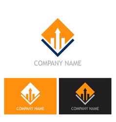square arrow business finance company logo vector image