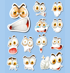sticker set with different faces vector image