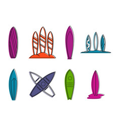 surfboard icon set color outline style vector image
