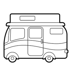 Traveling camper van icon outline style vector