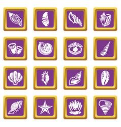 tropical sea shell icons set purple square vector image