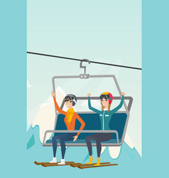 Two caucasian skiers using cableway at ski resort vector