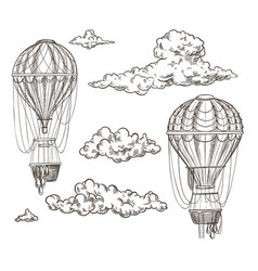 two retro air balloons between clouds sketch vector image