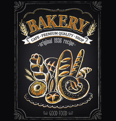 vintage bakery poster with pastry freehand drawing vector image