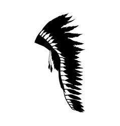 warbonnet feather hat black silhouette fashion vector image
