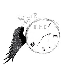 Waste time concept doodle retro watch dial with vector