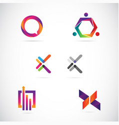 web internet colorful logo design collection templ vector image