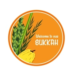 Welcome sign for traditional Jewish holiday Sukkot vector