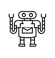 working bot line icon concept sign outline vector image