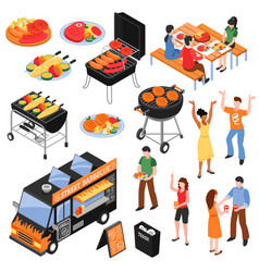 barbecue isometric set vector image