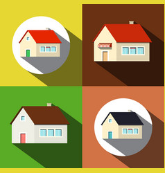 houses icons private buildings symbols set vector image vector image