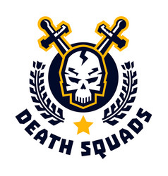 logo death squad human skull and cross swords vector image vector image