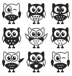 set of black and white owls and owlets vector image vector image
