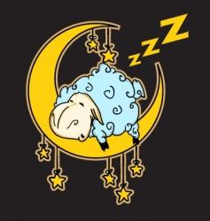 sheep sleeping on the moon vector image